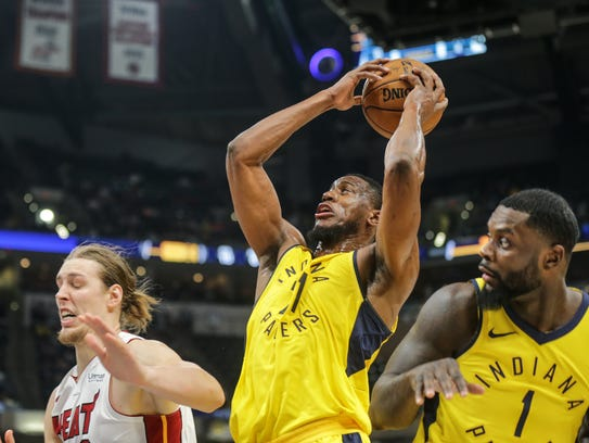 Indiana Pacers forward Thaddeus Young (21) grabs a