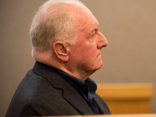 David Thomson of Eatontown listens  to Hal Greenspan of Ocean Township in Monmouth County Superior Court plead guilty to charges related to Greenspan's  business Century Pawnbrokers. Thomson was a victim of  the loss of his family's jewelry.