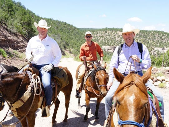Interior Secretary Ryan Zinke, left, posted this photo