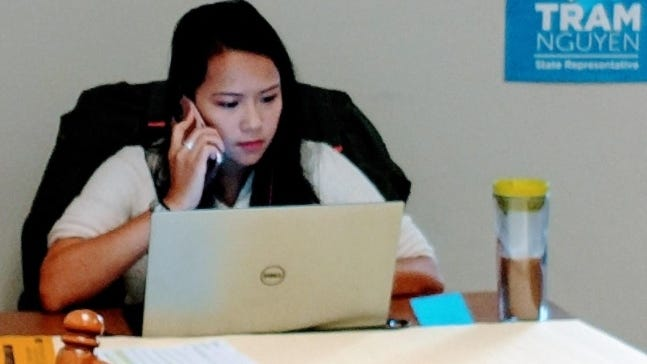 State Rep. Tram Nguyen, D-Andover, won a second term on Beacon Hill representing the 18th Essex District Tuesday night. Here, Nguyen is shown working on her initial campaign in 2018.