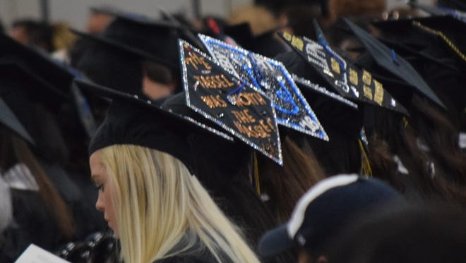 Central Louisiana Technical Community College graduates decorated their graduation caps for spring commencement Friday at the Alexandria Riverfront Center.