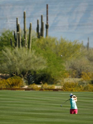 Anna Nordqvist plays her second at the 15th hole during the first round at the JTBC Founder's Cup at Wildfire Golf Club at JW Marriott Phoenix Desert Ridge Resort & Spa in Phoenix, Ariz., on Thursday, March 17, 2016.