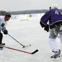The Door County Cherry Pickers and Moonlight Flyers of Racine battled it out in the Classic Division of last year's Door County Pond Hockey Tournament hosted by the Baileys Harbor Winter Carnival. The carnival takes place again this weekend, with the hockey scheduled for Saturday on Kangaroo Lake.