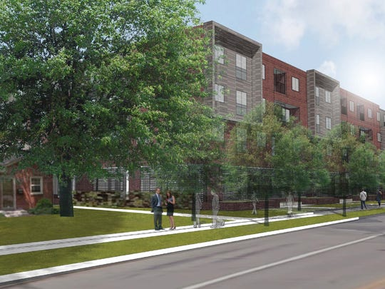 A street view of the proposed Link at Kessler apartment complex, looking north on College Avenue.