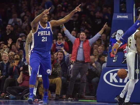 Philadelphia 76ers center Joel Embiid (21) celebrates