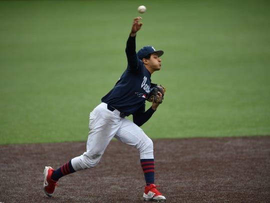Vanderbilt third baseman Austin Martin (16) makes a