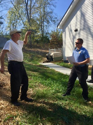 Knoxville resident Stephen Kroehling, 73, tells KPD Cadet Dexter Rogers what he witnessed on June 29, 2014 — the day Paul Shepherd was shot and killed while driving a taxi.