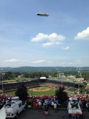 The view from the last available seat at Saturday's U.S. championship between Red Land and Pearland, Texas.