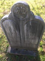 The headstone of pioneer Drury Dobbins Harrill, who