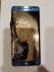 This Sept. 8, 2016, photo, shows a damaged Samsung