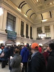 Crowds at Hoboken station Tuesday morning