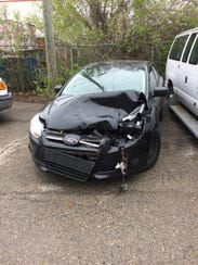 This photo shows damage from an accident for which
