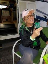 Patient RoseAnn Coghlan celebrates her Super Bowl victory.