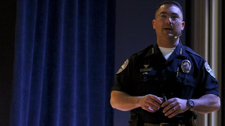 Redding Police Chief Robert Paoletti speaks at a town hall meeting in March 2016 at Sequioa Middle School's McLaughlin Auditorium where he discussed crime statistics and provided department updates.