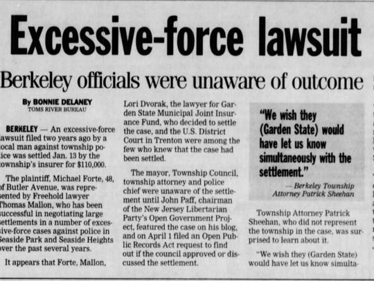 The Asbury Park Press reported Michael Forte's settlement with Berkeley in 2010.