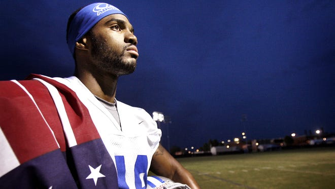 Former Marine and Middle Tennessee State University walk-on freshman Steve Rhodes after practice on Aug. 16,