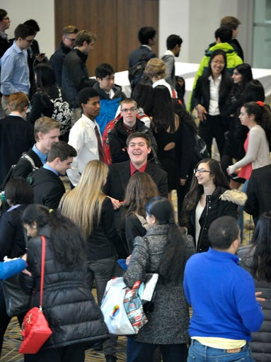 Students wait to enter Hall E for the afternoon judging