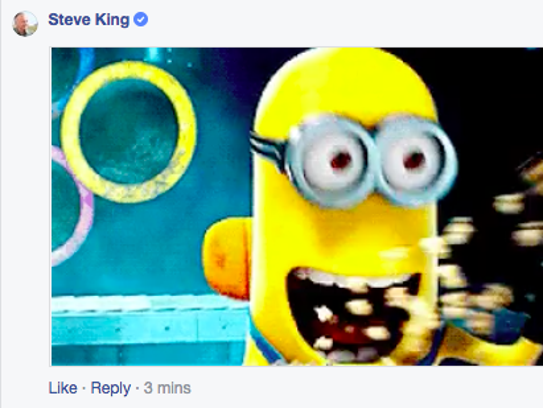 Steve King's Facebook comment included an animated