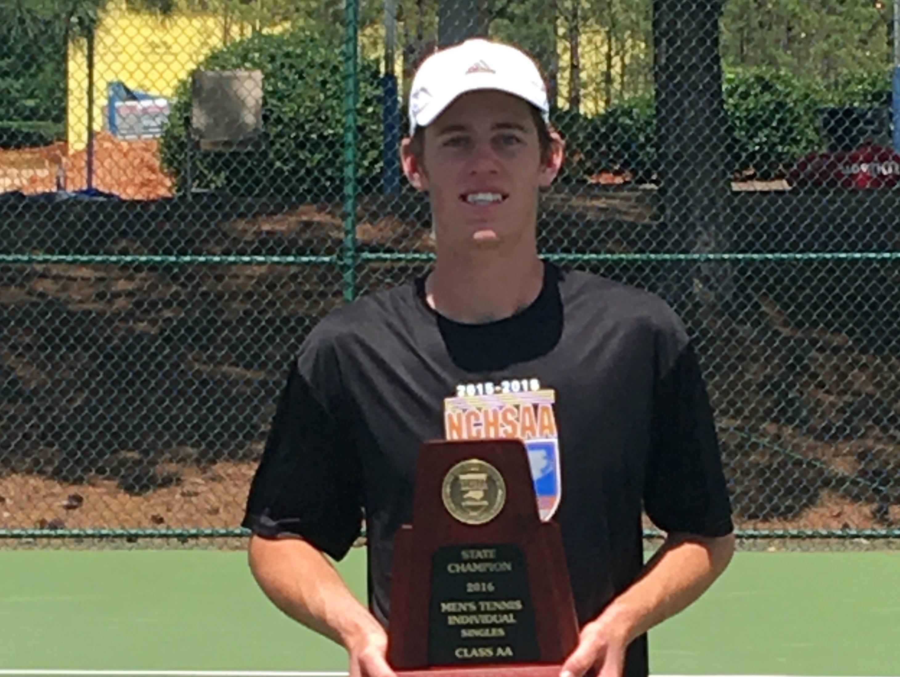 Brevard junior Joseph Schrader won the NCHSAA 2-A tennis championship Saturday in Apex.