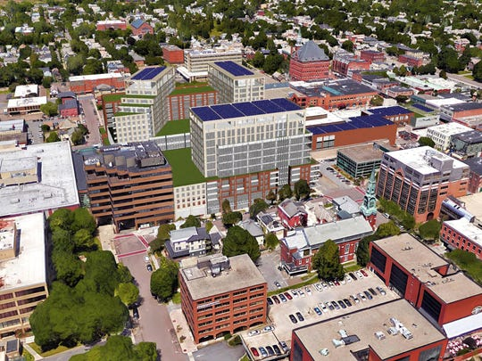 An earlier design released by PKSB Architects for the planned redevelopment of the Burlington Town Center mall in downtown.