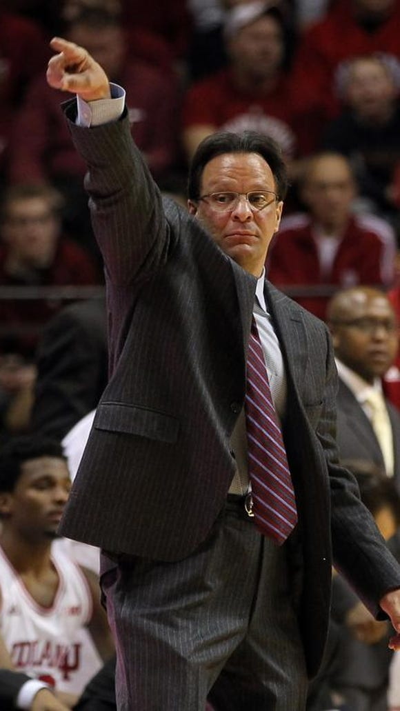 Indiana Hoosiers head coach Tom Crean reacts during the first half of Wednesday's game against the Penn State Nittany Lions at Assembly Hall.