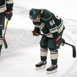The Minnesota Wild's Mikael Granlund reacts after the Dallas Stars defeated the Wild 3-2 in Game 4 in the first round of the NHL Stanley Cup hockey playoffs on Wednesday in St. Paul.