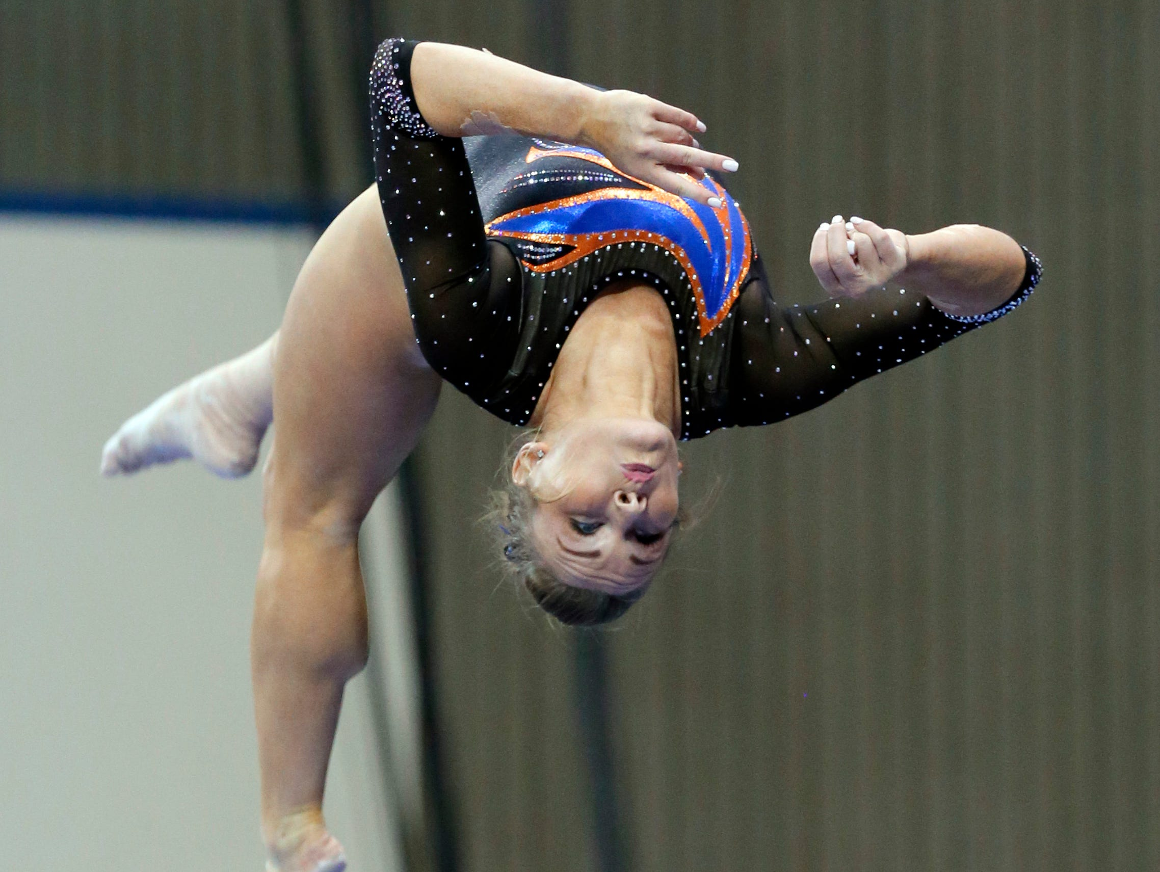 Florida's Bridget Sloan competes on the balance beam during the NCAA women's gymnastics championships,Friday, April 15, 2016, in Fort Worth, Texas.