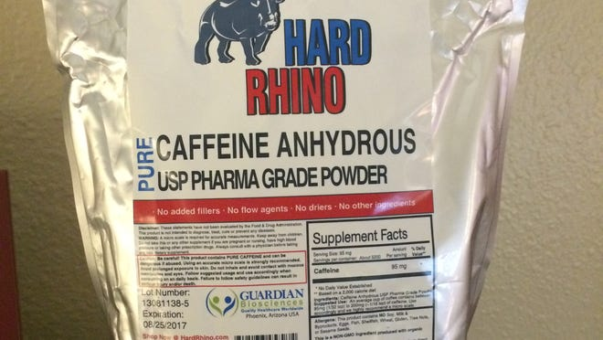 Package of Hard Rhino brand caffeine powder