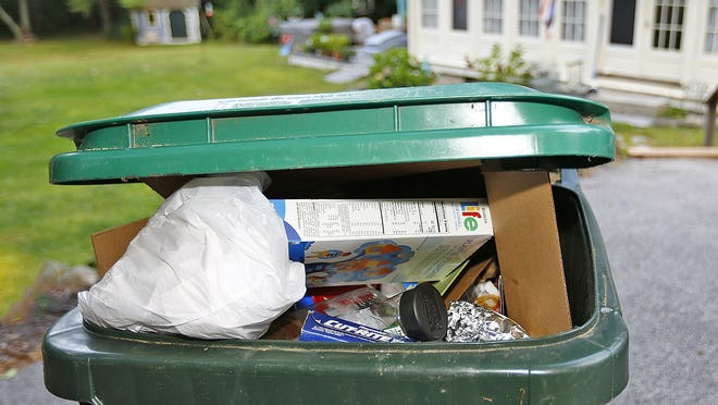 Recycle bins overflowing on Wednesday, Sept. 11, 2019 Greg Derr/The Patriot Ledger
