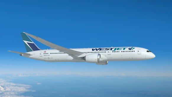 This image, provided by WestJet, shows a Boeing 787