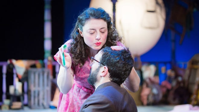 """Aphrodite Nikolovski and Rob Najarian in Lanford Wilson's """"Talley's Folly."""" It continues through Saturday at the Purple Rose Theatre in Chelsea."""