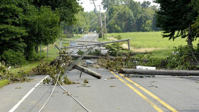A row of power lines in East Greenwich topped by the storms Tuesday.