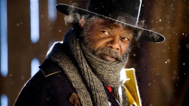 """This image released by The Weinstein Company shows Samuel L. Jackson in a scene from """"The Hateful Eight."""""""