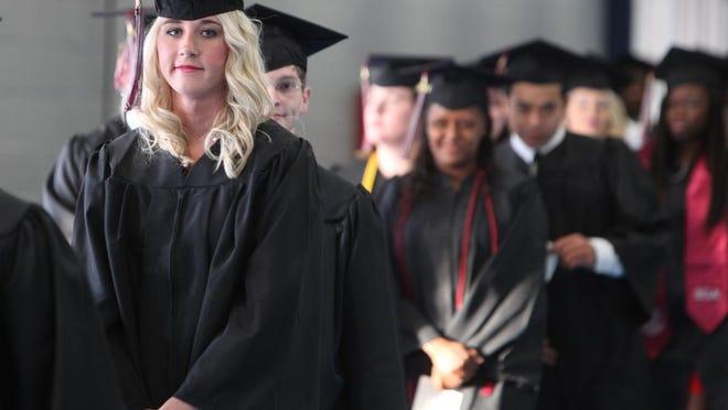 Graduates line up for Louisiana Delta Community College spring commencement.
