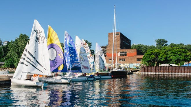 The six sails designed by Vermont artists for the SailArt Floating Gallery are seen at the Community Sailing Center in Burlington.
