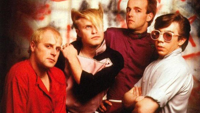 A Flock of Seagulls, seen circa 1982, performs Thursday in Cabazon. Lead singer Mike Score (second from left) is the only remaining member of the band and he no longer has his famous haircut.