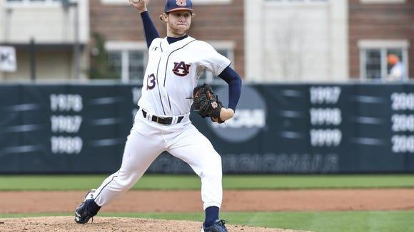St. James graduate Davis Daniel pitches well for Auburn against Presbyterian on Sunday.