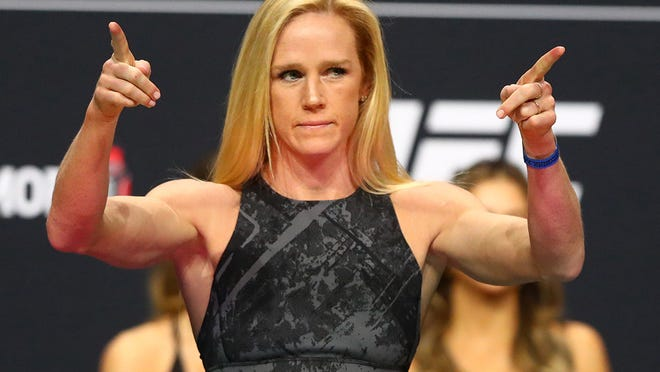 Jan 17, 2020; Las Vegas, Nevada, USA; Holly Holm during weigh ins for UFC 246 at T-Mobile Arena. Mandatory Credit: Mark J. Rebilas-USA TODAY Sports