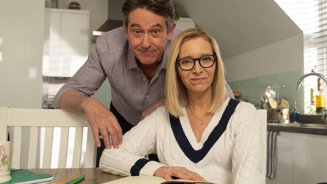 "Adrian Lukis and Lisa Kudrow star in ""Feel Good"" on Netflix."