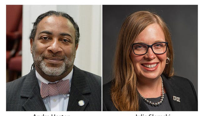 Democrats Andre Horton, at left, and Julie Slomski, at right, are both seeking the Democratic nomination for the 49th District state Senate seat, currently held by state Sen. Dan Laughlin, of Millcreek, R-49th Dist.
