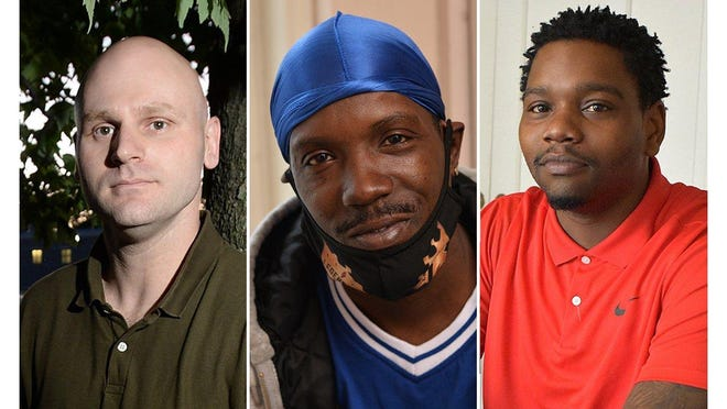 From left: Anthony Dabrowski, 34; Raimond Hansbrew, 40; and Davaughn Tate-Johnson, 31, are three city residents who have filed excessive-force lawsuits in federal court against a single Erie police officer, Patrolman Joshua Allison.