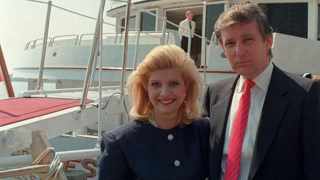 Donald Trump and his then-wife Ivana pose in front of their yacht The Trump Princess in New York City on July 4, 1988. Donald Trump's niece, Mary Trump, has written a book about her family that is set to be published next month.