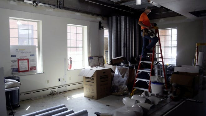 Renovation work to improve accessibility, security and the work space for city employees continues Sept. 8 at Delaware City Hall. Workers are taking advantage of the building being closed to the public due to the COVID-19 coronavirus pandemic.