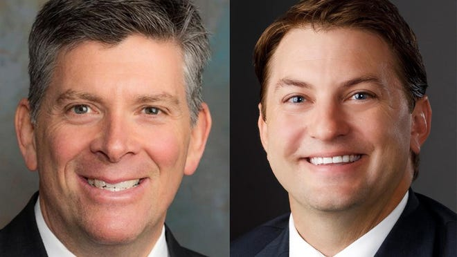 Running for Illinois 18th Congressional district seat are Republican Darin Lahood, left, and Democrat George Petrilli.