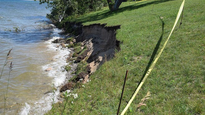 This photo from late 2019 shows erosion as a result of increased water levels at Bayfront Park in Petoskey.