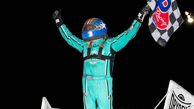 Jacob Allen wins first World of Outlaws NOS Energy Drink Sprint Car Series Feature at Dodge City Raceway Park this past weekend. PHOTO BY TRENT GOWER/SPECIAL TO THE GLOBE