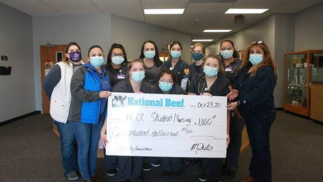 National Beef made a donation to the DCCC Student Nursing Association on Oct. 29. SUBMITTED BY PHOTO