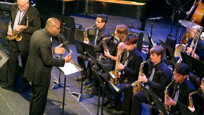 The Savannah Arts Academy Skylite Jazz Band performs at School Bands Celebrations during the 38th Annual Savannah Jazz Festival.