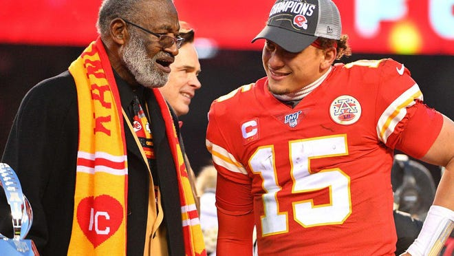 Shelby native and Pro Football Hall of Famer Bobby Bell chats with Kansas City Chiefs quarterback Pat Mahomes after the 2020 AFC Championship Game.