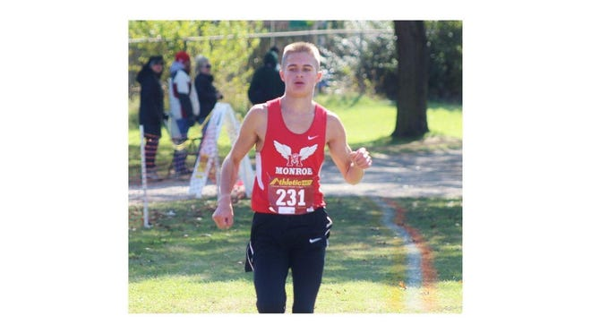 Monroe's Luke Butler takes first place in freshman/sophomore race at the Dave Bork Invitational in 2019. Butler was selected as the 2020 Monroe County Region Boys Cross Country Runner of the Year as a sophomore.